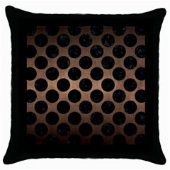 Circles2 Black Marble & Bronze Metal (r) Throw Pillow Case (black) by trendistuff