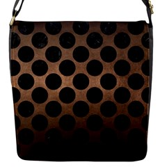 Circles2 Black Marble & Bronze Metal (r) Flap Closure Messenger Bag (s) by trendistuff