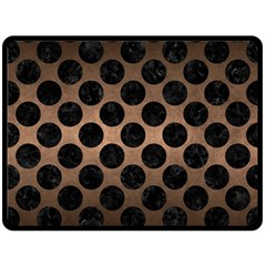 Circles2 Black Marble & Bronze Metal (r) Double Sided Fleece Blanket (large) by trendistuff