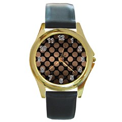 Circles2 Black Marble & Bronze Metal Round Gold Metal Watch by trendistuff