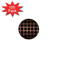 Circles1 Black Marble & Bronze Metal (r) 1  Mini Button (100 Pack)  by trendistuff