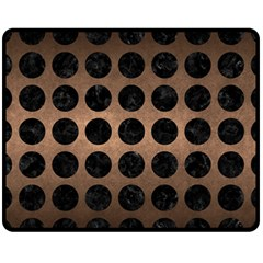 Circles1 Black Marble & Bronze Metal (r) Fleece Blanket (medium) by trendistuff