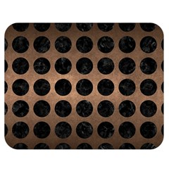 Circles1 Black Marble & Bronze Metal (r) Double Sided Flano Blanket (medium) by trendistuff