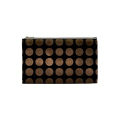 Circles1 Black Marble & Bronze Metal Cosmetic Bag (small) by trendistuff