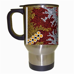 Aboriginal Art – Riverside Dreaming Travel Mugs (white) by hogartharts