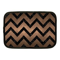 Chevron9 Black Marble & Bronze Metal (r) Netbook Case (medium) by trendistuff