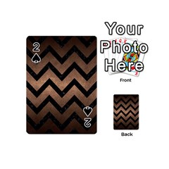 Chevron9 Black Marble & Bronze Metal (r) Playing Cards 54 (mini) by trendistuff