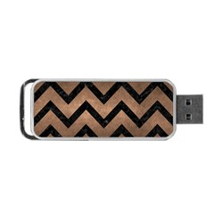 Chevron9 Black Marble & Bronze Metal (r) Portable Usb Flash (one Side) by trendistuff