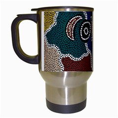 Aboriginal Art   Riverside Dreaming Travel Mugs (white) by hogartharts