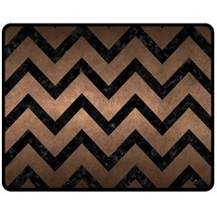 Chevron9 Black Marble & Bronze Metal (r) Double Sided Fleece Blanket (medium) by trendistuff