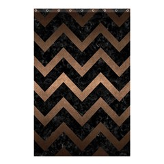 Chevron9 Black Marble & Bronze Metal Shower Curtain 48  X 72  (small) by trendistuff