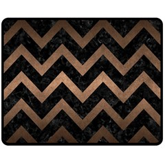 Chevron9 Black Marble & Bronze Metal Double Sided Fleece Blanket (medium) by trendistuff