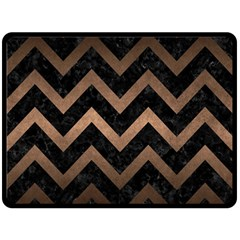 Chevron9 Black Marble & Bronze Metal Double Sided Fleece Blanket (large) by trendistuff
