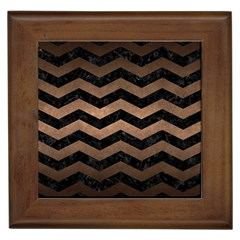 Chevron3 Black Marble & Bronze Metal Framed Tile by trendistuff