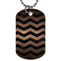 Chevron3 Black Marble & Bronze Metal Dog Tag (two Sides) by trendistuff