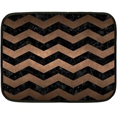 Chevron3 Black Marble & Bronze Metal Fleece Blanket (mini) by trendistuff
