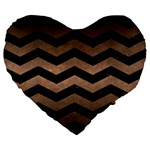 CHEVRON3 BLACK MARBLE & BRONZE METAL Large 19  Premium Flano Heart Shape Cushion Front
