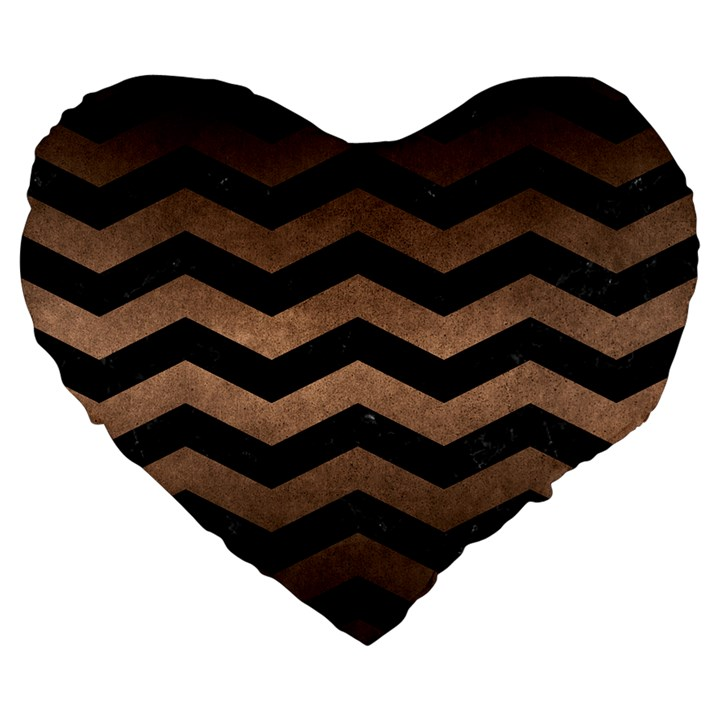 CHEVRON3 BLACK MARBLE & BRONZE METAL Large 19  Premium Flano Heart Shape Cushion