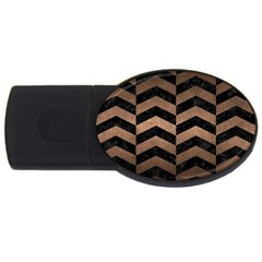 Chevron2 Black Marble & Bronze Metal Usb Flash Drive Oval (2 Gb) by trendistuff