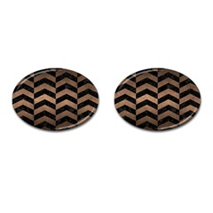 Chevron2 Black Marble & Bronze Metal Cufflinks (oval) by trendistuff