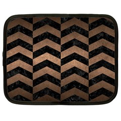 Chevron2 Black Marble & Bronze Metal Netbook Case (large) by trendistuff
