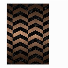 Chevron2 Black Marble & Bronze Metal Small Garden Flag (two Sides) by trendistuff