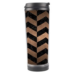 Chevron2 Black Marble & Bronze Metal Travel Tumbler by trendistuff