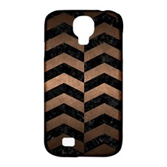 Chevron2 Black Marble & Bronze Metal Samsung Galaxy S4 Classic Hardshell Case (pc+silicone) by trendistuff