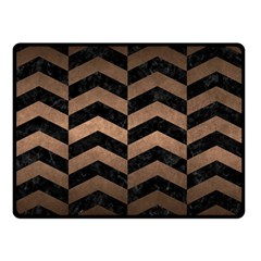 Chevron2 Black Marble & Bronze Metal Double Sided Fleece Blanket (small) by trendistuff