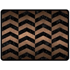 Chevron2 Black Marble & Bronze Metal Double Sided Fleece Blanket (large) by trendistuff