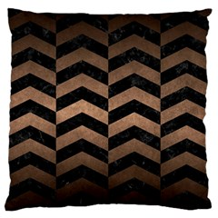 Chevron2 Black Marble & Bronze Metal Standard Flano Cushion Case (two Sides) by trendistuff