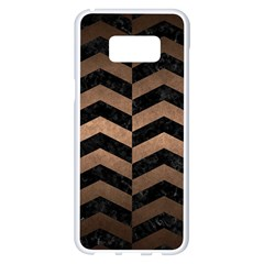 Chevron2 Black Marble & Bronze Metal Samsung Galaxy S8 Plus White Seamless Case