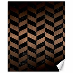 Chevron1 Black Marble & Bronze Metal Canvas 16  X 20