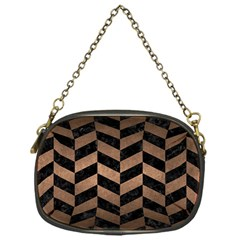 Chevron1 Black Marble & Bronze Metal Chain Purse (one Side) by trendistuff