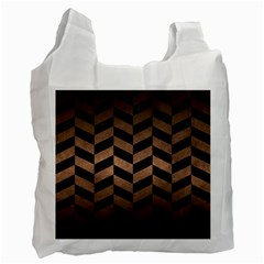 Chevron1 Black Marble & Bronze Metal Recycle Bag (two Side) by trendistuff