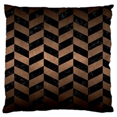 Chevron1 Black Marble & Bronze Metal Large Cushion Case (two Sides) by trendistuff