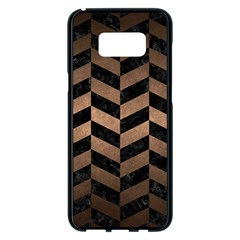 Chevron1 Black Marble & Bronze Metal Samsung Galaxy S8 Plus Black Seamless Case