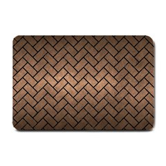 Brick2 Black Marble & Bronze Metal (r) Small Doormat by trendistuff
