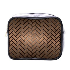 Brick2 Black Marble & Bronze Metal (r) Mini Toiletries Bag (one Side) by trendistuff