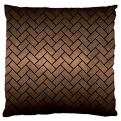 Brick2 Black Marble & Bronze Metal (r) Large Cushion Case (one Side) by trendistuff