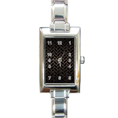 Brick2 Black Marble & Bronze Metal Rectangle Italian Charm Watch by trendistuff