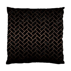 Brick2 Black Marble & Bronze Metal Standard Cushion Case (two Sides) by trendistuff