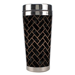Brick2 Black Marble & Bronze Metal Stainless Steel Travel Tumbler by trendistuff