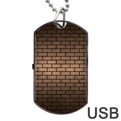 Brick1 Black Marble & Bronze Metal (r) Dog Tag Usb Flash (two Sides) by trendistuff