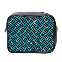 Woven2 Black Marble & Blue Green Water (r) Mini Toiletries Bag (two Sides) by trendistuff