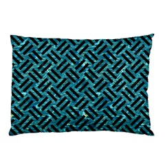 Woven2 Black Marble & Blue Green Water (r) Pillow Case (two Sides) by trendistuff