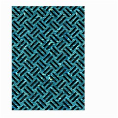 Woven2 Black Marble & Blue Green Water (r) Large Garden Flag (two Sides) by trendistuff