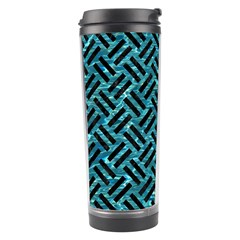 Woven2 Black Marble & Blue Green Water (r) Travel Tumbler by trendistuff