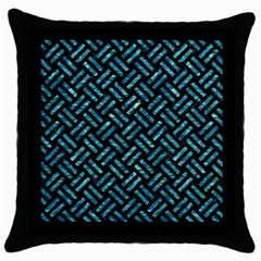 Woven2 Black Marble & Blue Green Water Throw Pillow Case (black) by trendistuff