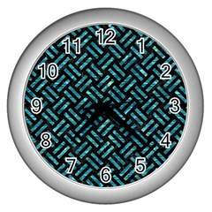 Woven2 Black Marble & Blue Green Water Wall Clock (silver) by trendistuff